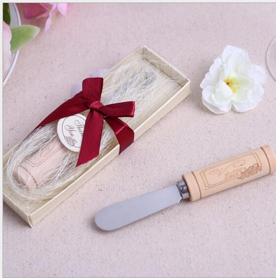 الفولاذ المقاوم للصدأ الموزعة مع النبيذ كورك مقبض زبدة سكين عرس الحسنات والهدايا استحمام الطفل تفضل مع صندوق DHL شحن مجاني