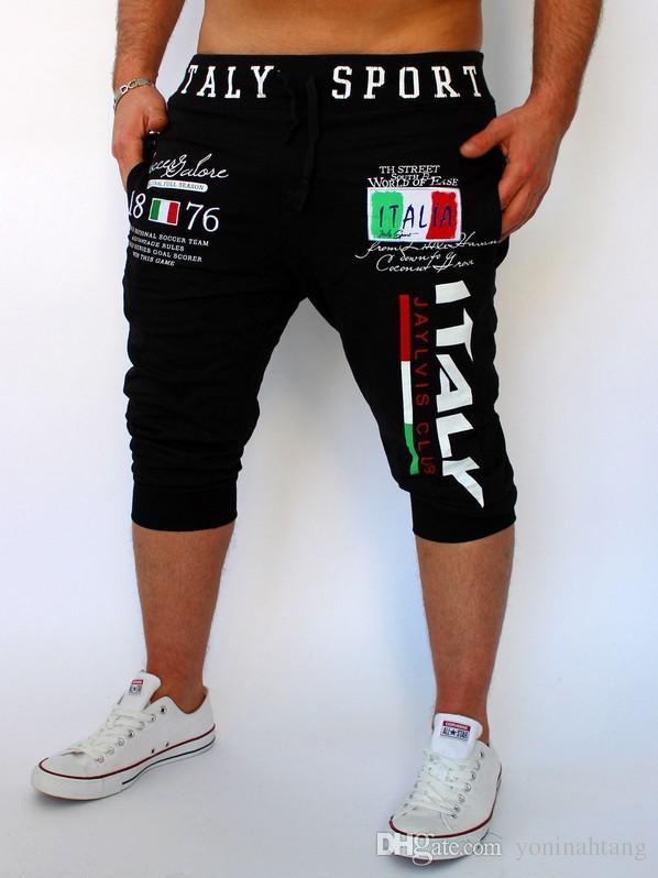 Venta al por mayor envío gratuito Shorts para hombre Medias de compresión Bermudas Corto Italia Diseño de impresión Hombres Homme Shorts es tamaño M-2XL