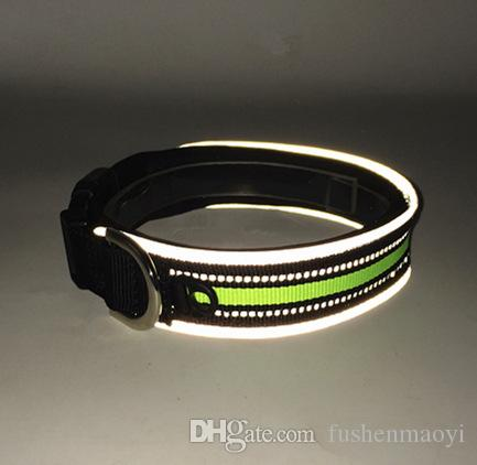 PET supplies cat dog collars Nylon soft sponge Padded liner dog collars with Fluorescent reflective strip adjustable dog collars