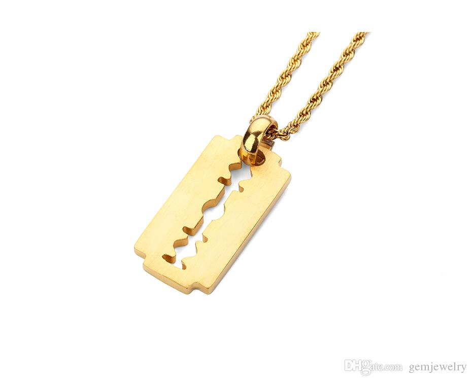 Stainless Steel Blade Fashion Personalized Razor Pendant Necklace Simple Style Full Of Rhinestone Fashion Hip Hop Jewelry