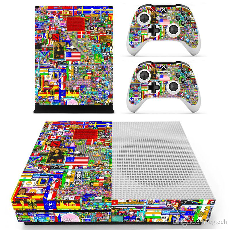 Graffiti Skin Skins Sticker Protective film Decal Vinyl For Xbox one S Console and 2 Controller Stickers DHL FEDEX FREE SHIPPING