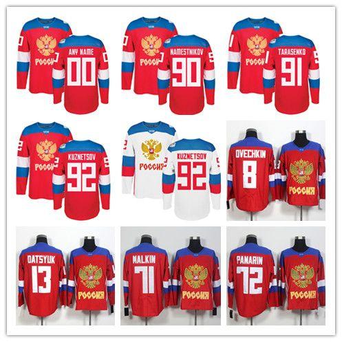b019cca05 2019 Team Russia Hockey 8 Alex Ovechkin 72 Artemi Panarin 91 Vladimir  Tarasenko 71 Evgeni Malkin 13 Pavel Datsyuk 2016 World Cup Of Jerseys Red  From ...
