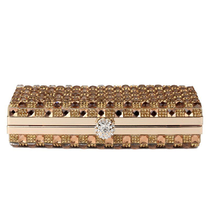You Sure Love  Luxury Glass Diamond Evening Bags Bling Bling Classic Rhinestone gold Clutch bag wedding bridal purse W47
