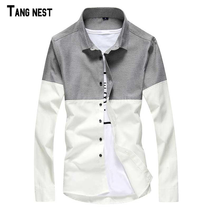 d0a965cbd7d3 Wholesale- TANGNEST Male Patchwork Shirts Male Slim Fit Leisure ...