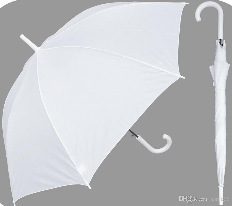 Parure de mariée nuptiale en nylon blanc parapluie Parasol imperméable à l'eau à long manche Parapluies pluvieux
