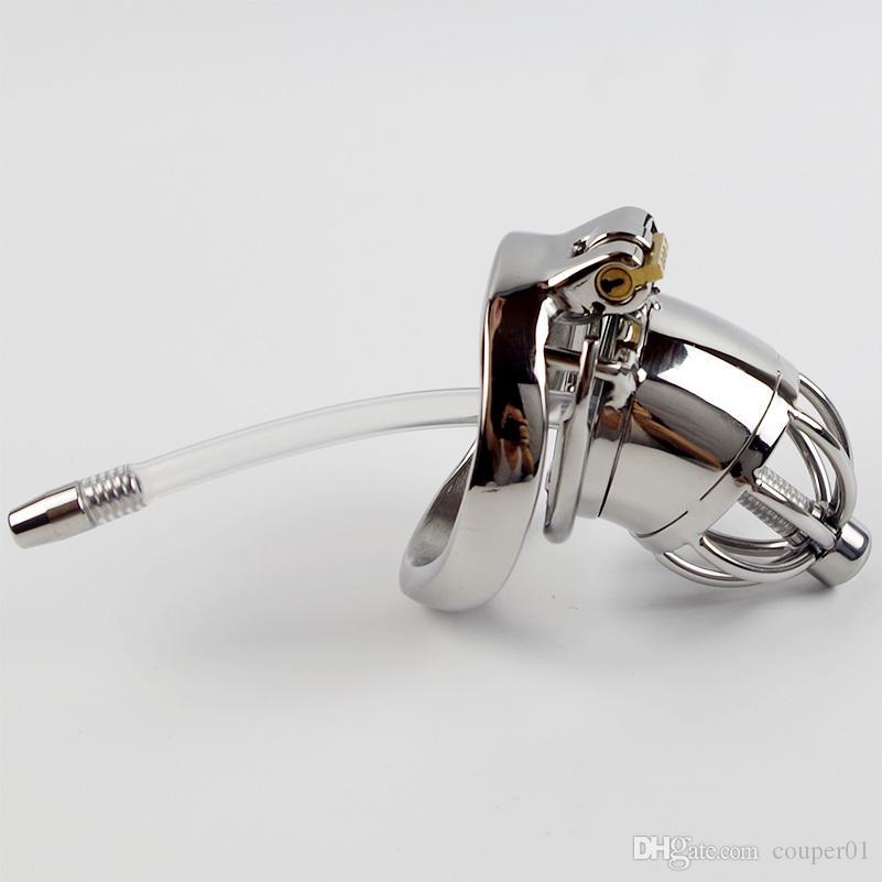 Dispositivo di castità maschio dell'acciaio inossidabile con i suoni uretrali del silicone Catetere Spike Ring BDSM Giocattoli del sesso gli uomini Sex Slave Pene Lock Cage CP277