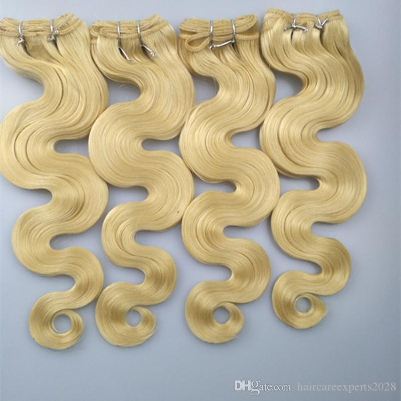 ELIBESS HAIR -Blonde 613 컬러 버진 인간 헤어 익스텐션 3 묶음 100g / pcs 바디 웨이브 Blonde Human Hair Weave