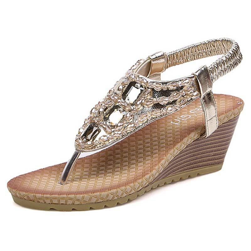 6e90bf60fed96b New Summer 2017 Beaded Rhinestone Wedges Sandals Women S High Heeled  Platform Flip Flops Female Beach Shoes Gold Silver Brown 2A Cute Shoes  Leather Sandals ...