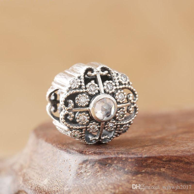 New Fairytale Bloom Charms Authentic 925 Sterling Silver Pave Crystal Flower Floral Beads Fits Brand Charms Bracelets DIY Making Accessories