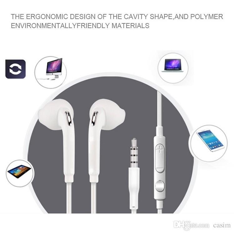 Kulak Samsung Galaxy S6 S5 S4 i9500 S3 i9300 3.5mm EO-EG920LW Uzaktan Ses Kontrolü ve MIC ile Kulaklık Eller serbest Kulaklık Kulaklık
