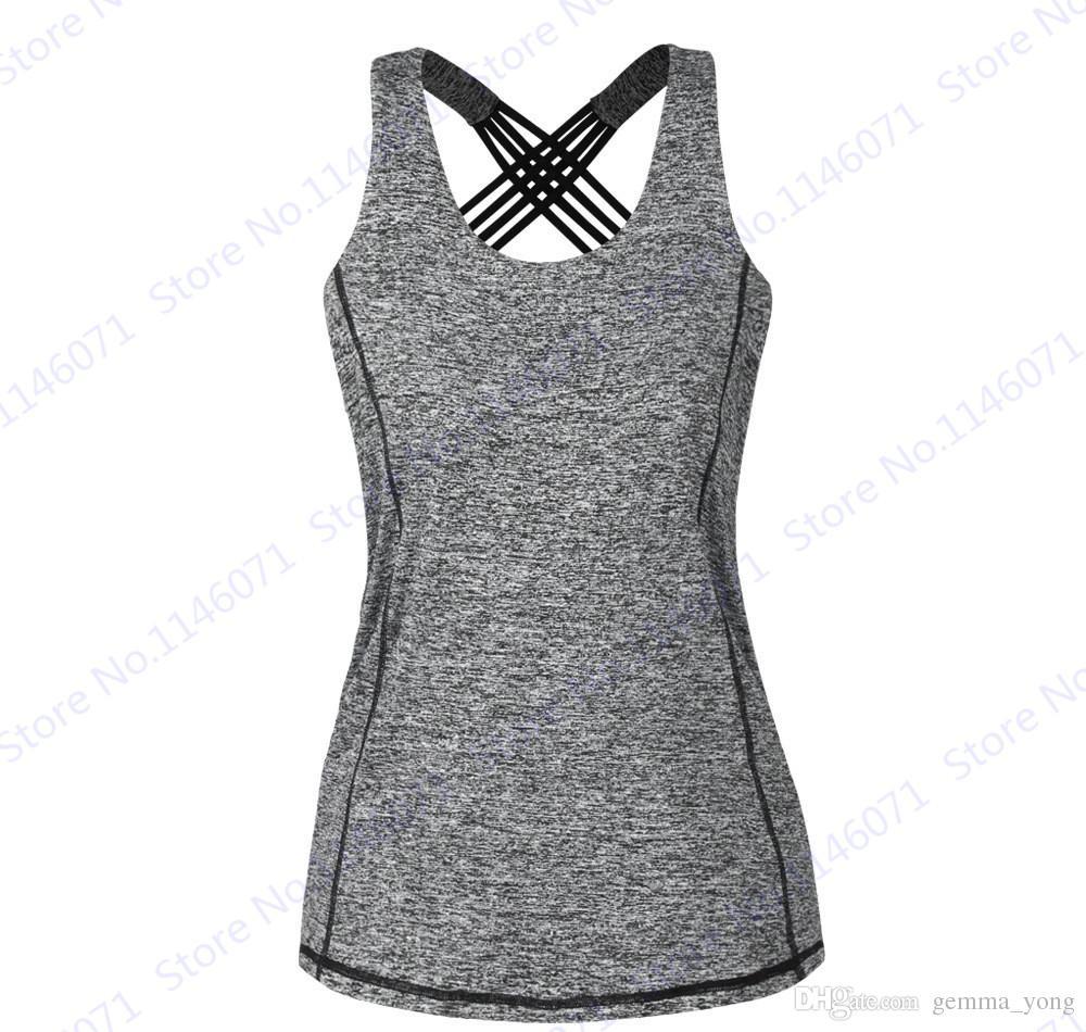 Gri Bayan Yoga Tee Gömlek Seksi Strappy Geri Crisscross Spor Spor Salonu Gömlek Kuru Fit Bisiklet Koşu Tükenmişlik Tank Top Bluz