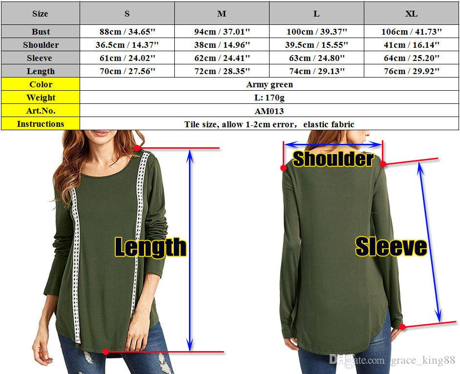 Women's Long sleeve Cotton Loose Casual T-Shirt Fashion Lace Panelled Loose Top blouse shirt XS-XL