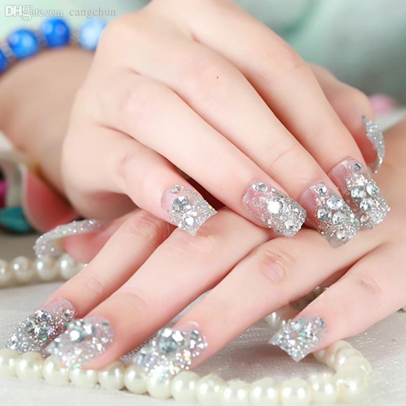 Wholesale Women\'S Sequins Manicure False Nail Wraps Crystal ...
