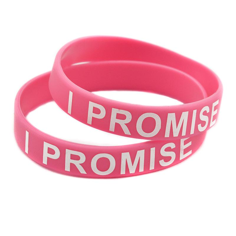 Printed I PROMISE Silicone Bracelet For Sport or Cancer Adult Size Promotion Gift