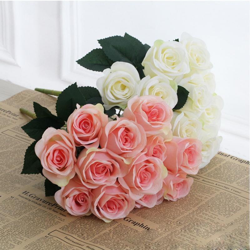 Artificial Carter roses 12 heads 1 bunch rose flower home decoration pompom diy Silk bouquet wedding vase flores artificiales florals Deco