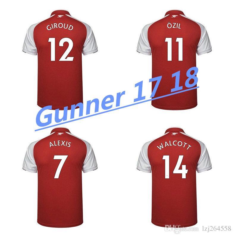 Whosales Discount Alexis Sanchez Jersey 2018 Camiseta De Fútbol Jersey De  Fútbol 17 18 Ozil Giroud Lacazette Ramsey Uniforme XHAKA Walcott 2017 Top  Por ... 6843e1fef510e