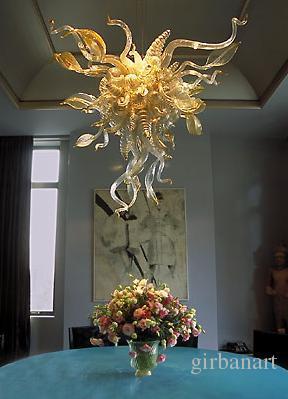Lambalar Antik Düğün Ev Dekoratif Avizeler Işıklar Benzersiz Yaprak Tasarım Enerji Tasarrufu Işık Kaynağı El Üflemeli Sanat Cam Avize