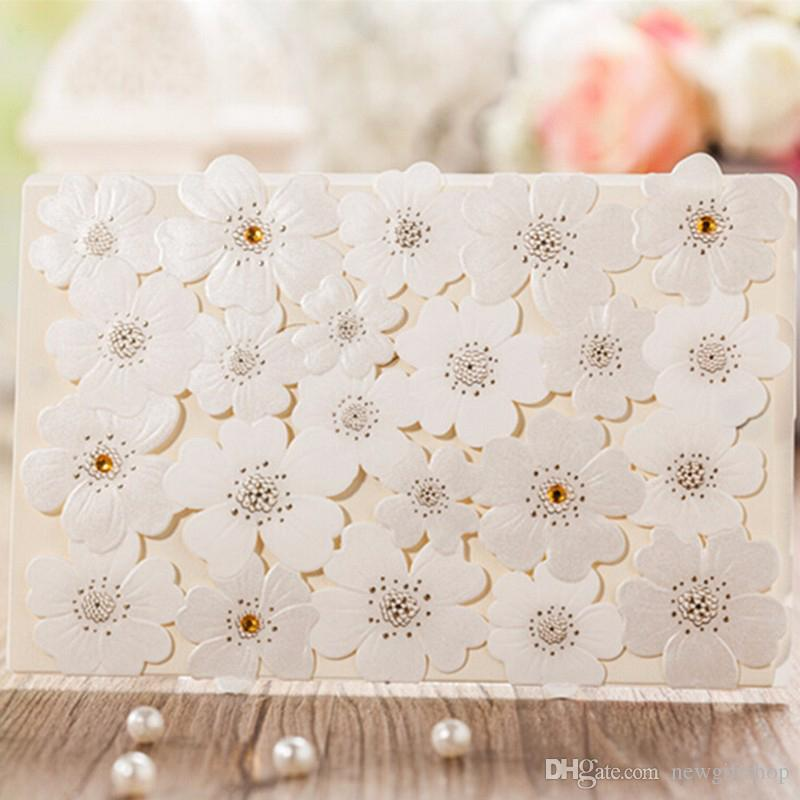 Pearl Paper Embossed Flower Wedding Card Invitations 2018 Ivory ...
