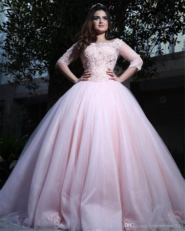Pembe Dantel Uzun Kollu Quinceanera Elbiseler Meydanı Boyun Aplikler Balo 15 Için Elbiseler Balo Elbise Tatlı Onaltı Törenlerinde Custom Made