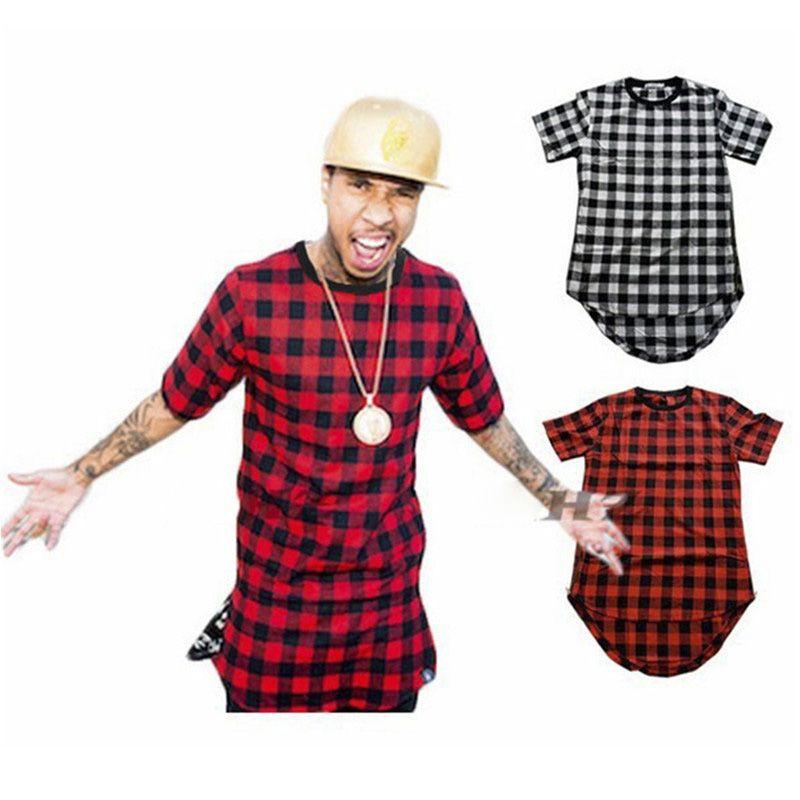 Brand New Clothing Mens Checked Shirt Hip Hop plaid t shirt Zipper Hiphop  Swag T-shirts Streetwear Mens Tyga male Tshirt
