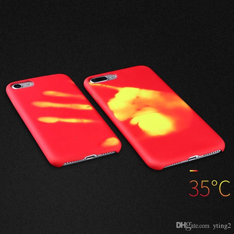 Thermosensitive Color Change Magical PU Fingerprint Temperature Sensing Thermal Sensor Heat Shell Back Cover Case For iphone XS XR