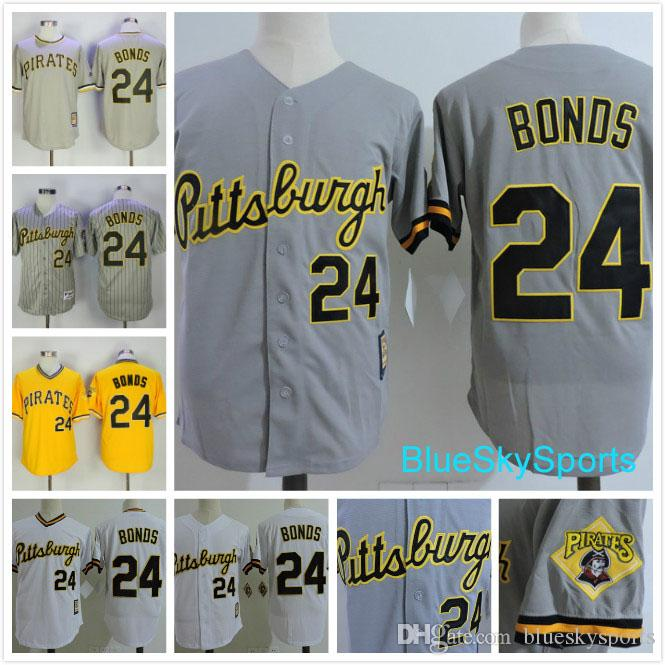 97f2ac13 ... authentic mlb mitchell ness 24 barry bonds jersey pittsburgh pirates  white gray yellow pullover button down