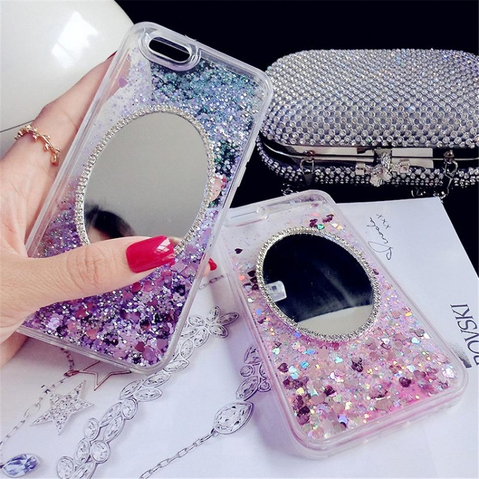 Luxury quickstand mobile phone case For Iphone 7 case Bling Glitter star Mirror Hard PC back cover cell phone shell for iphone 5S 6S 7 Plus