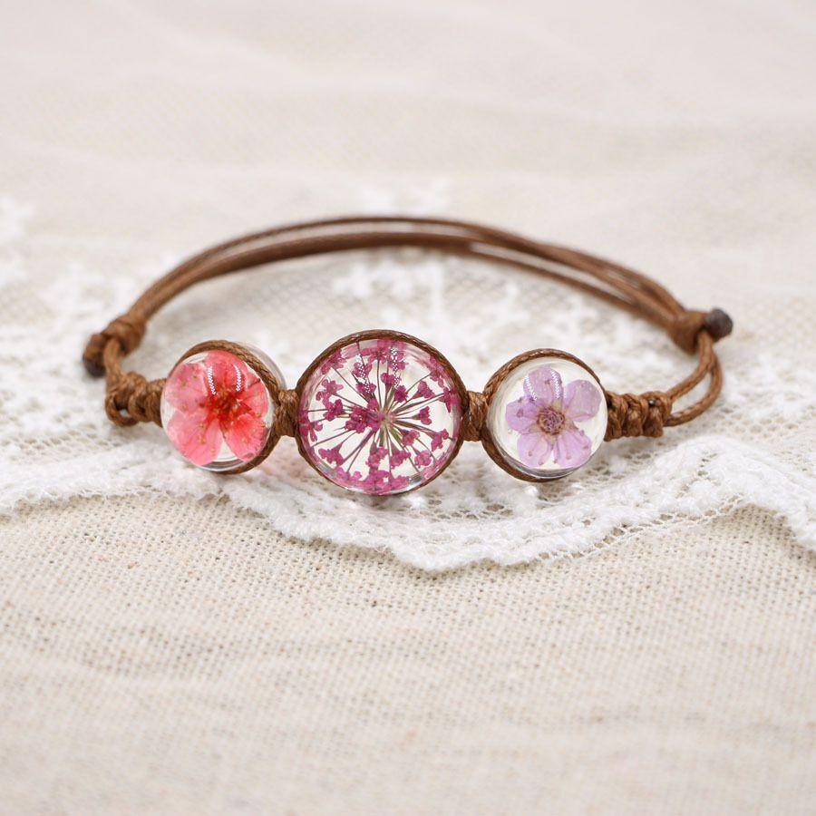 Women's Fashion Handmade Crystal Dried Flowers Bracelets Plant Specimens Chains Creative Charm Bracelets