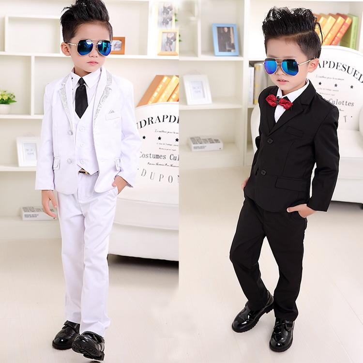 ac078a384bbfc Boy Wedding Suit Flower Boy Black White Gray Blazers Coat Pants Vest Shirt  Bow Tie 5pcs/Set Size 2T to 140CM