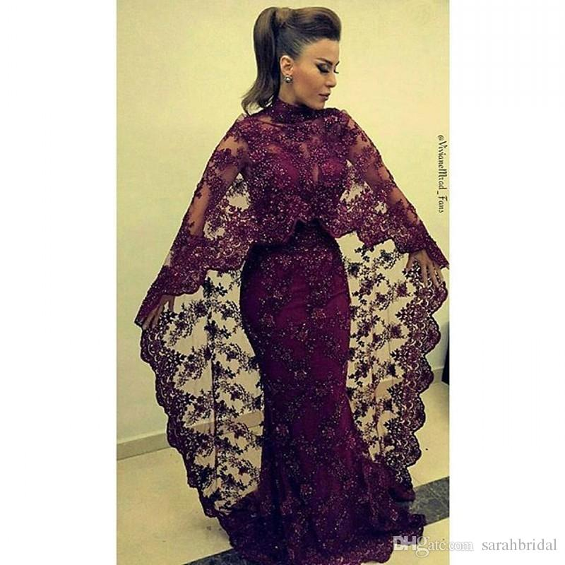 2019 two piece Fashion Purple Lace evening dress celebrity dresses High Neck African Long Sleeve Appliques Beading Mermaid Party Gowns