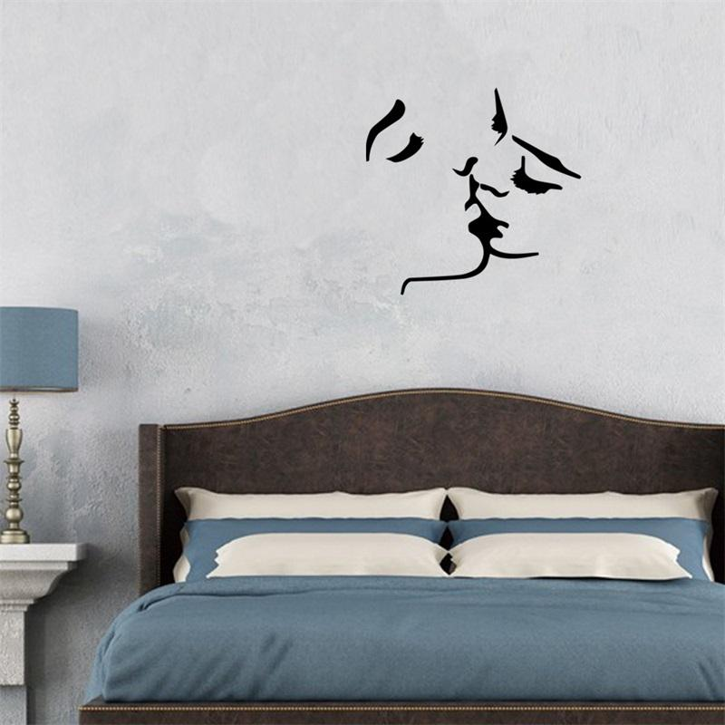 56x58cm Romantic French Kiss Design Vinyl Wall Stickers Removable