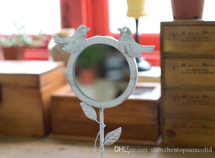 Couleur blanche en métal style rétro loupe debout décoratif détachable maquillage miroir