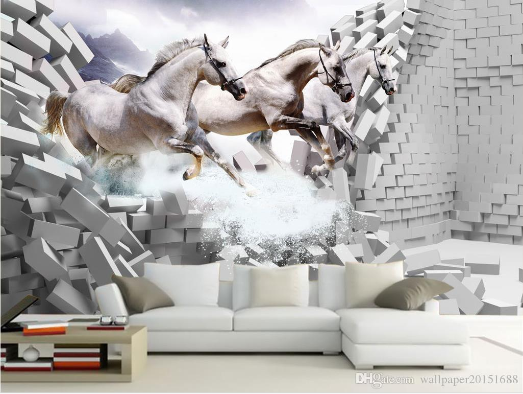 Luxury European Modern White horse ride 3D background wall mural 3d wallpaper 3d wall papers for tv backdrop