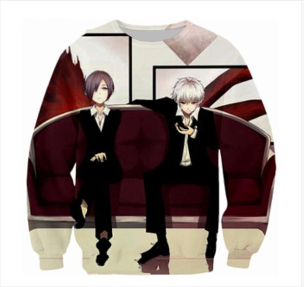 New Fashion Mens/Womens anime Tokyo Ghoul Funny 3D Print Casual Sweatshirt 2017 New Design ABC20