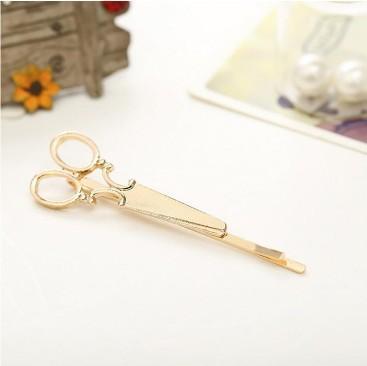Novelty Scissor Hair Clip Pins Silver Gold Tone Headwear Hair Barrettes Clip Metal Hairpin Hair Accessories