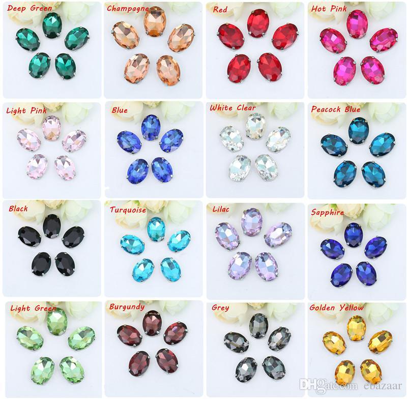 13x18mm DIY Ovale Argent Base Verre Cristal Coudre Sur Strass Avec Griffe Pour Vêtements Robe Décoration Multicolore
