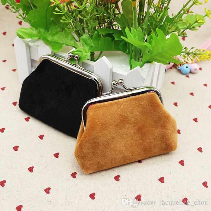 Moda caramelle colore flanella borsa studenti borsa raccoglitore zero borsa di denaro bambini Borse di Natale regali lqb-006