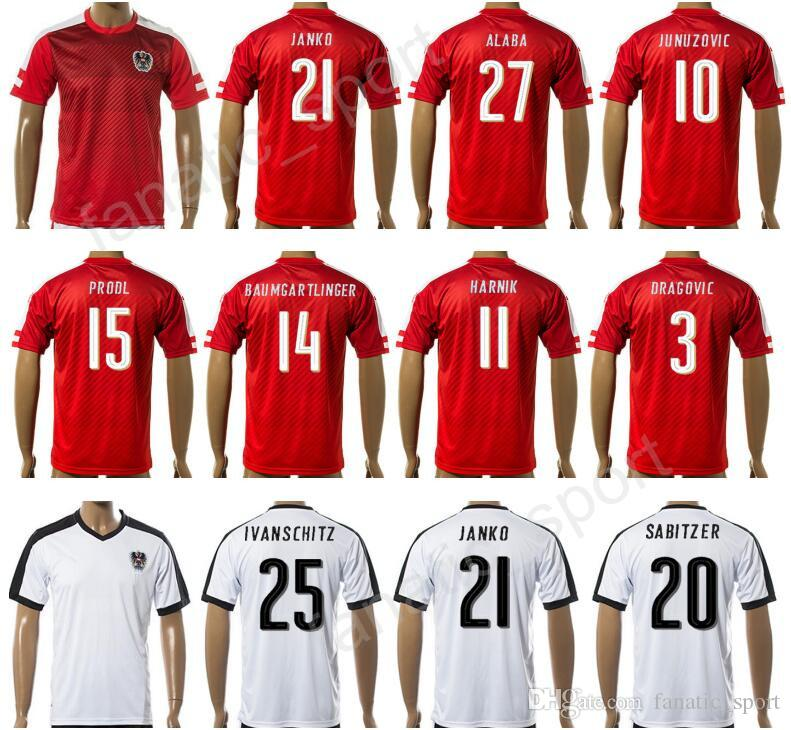 bd7c8e4fb 2019 17 18 Soccer Austria Jersey 2017 Make Customized 15 PRODL 3 DRAGOVIC  14 BAUMGARTLINGER 20 SABITZER 7 ARNAUTOVIC Football Shirt Thai Quality From  ...