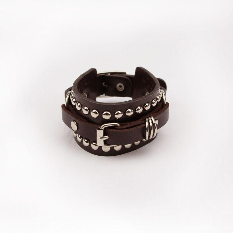 Fashion Unisex Punk Rivet Wide Cuff Buckle Belt Leather Bracelets Bangles For Women Men Charm Gothic Rock Bangles
