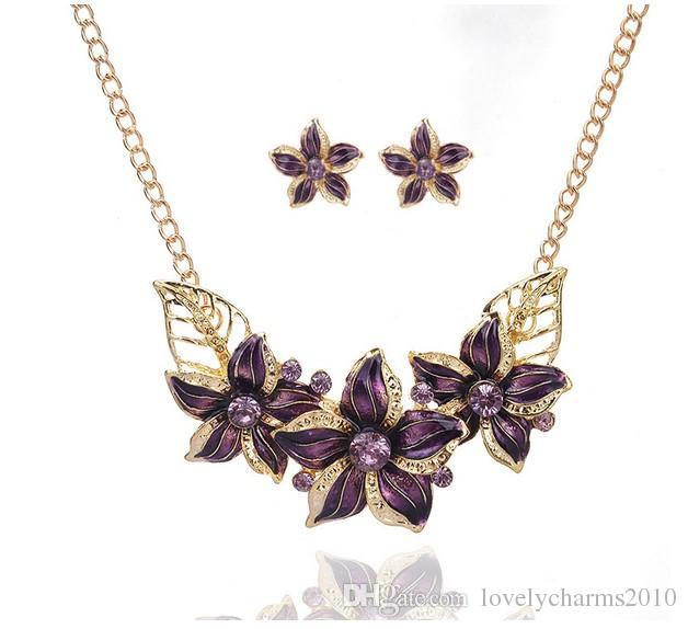 Fashion Enamel Flower Crystal Statement Earring Necklaces Women Gemstone Diamond Choker Necklace Earrings Party High Quality Jewelry Set