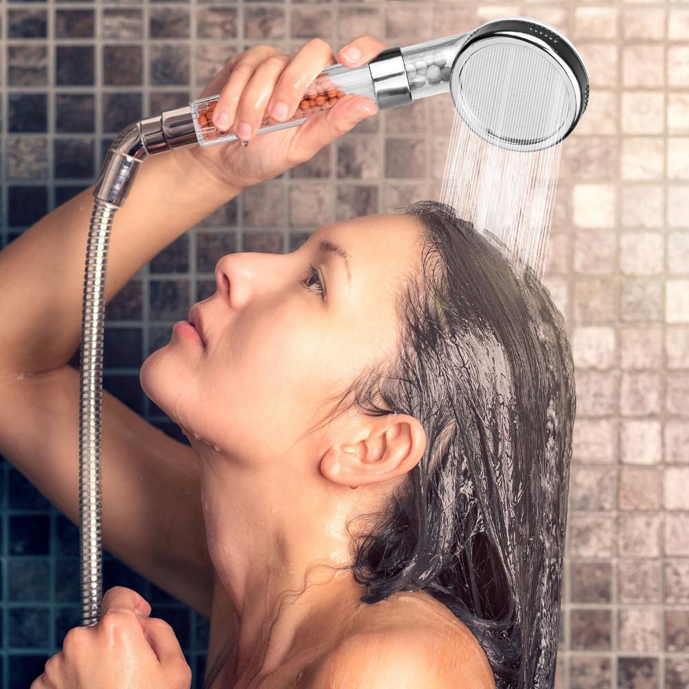 2018 8cm Water Saving Bathroom Shower Filter Spa Handheld Head ...