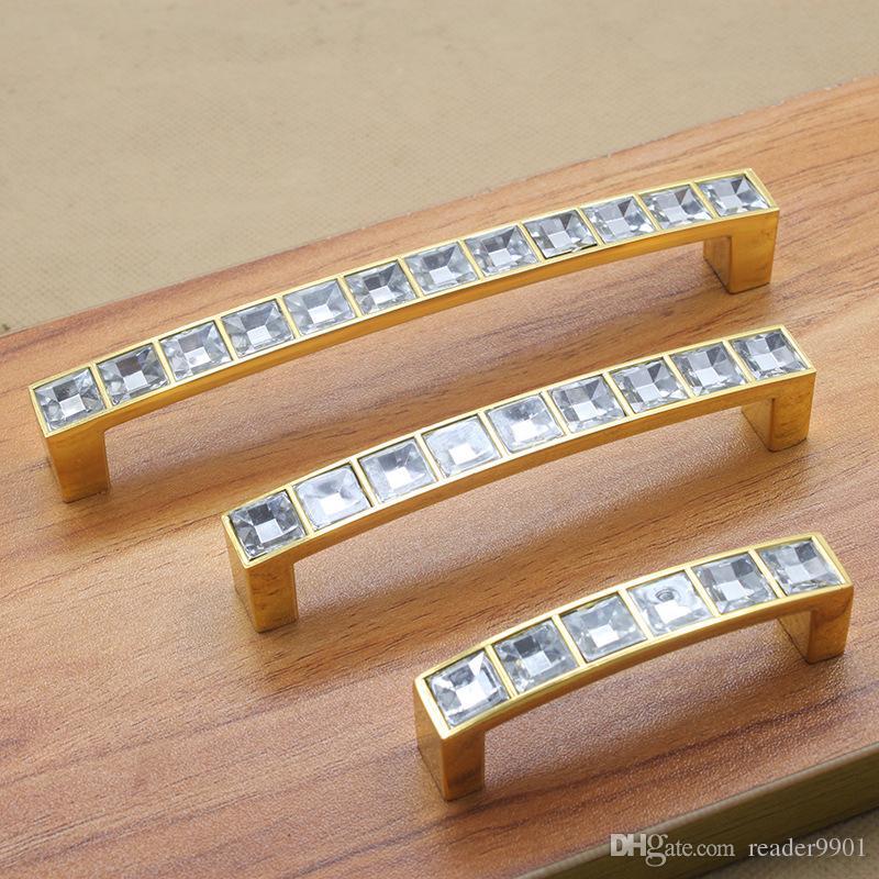 2017 Altın Gümüş Modern Çinko alaşım kristal kapı kolları kolu mobilya dolap mutfak mini çekmece pulls pitch satır 64 96 128mm # 203