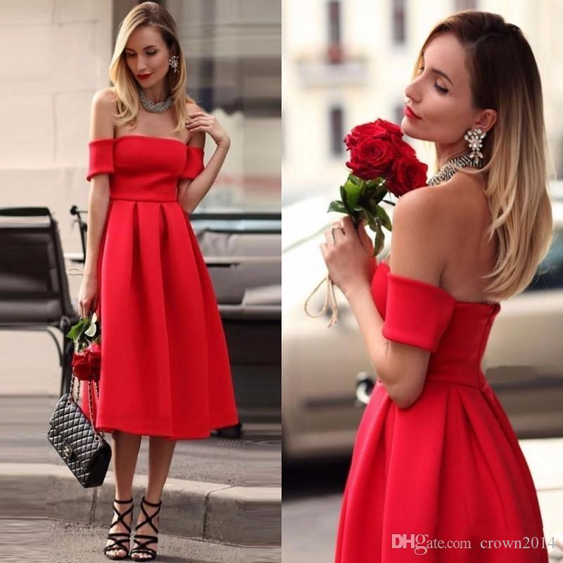2019 All Red Satin Tea Length Dress Cheap Elegant Off the Shoulder A Line Cocktail Dresses Ruched Short Party Dresses Prom Evening Gowns