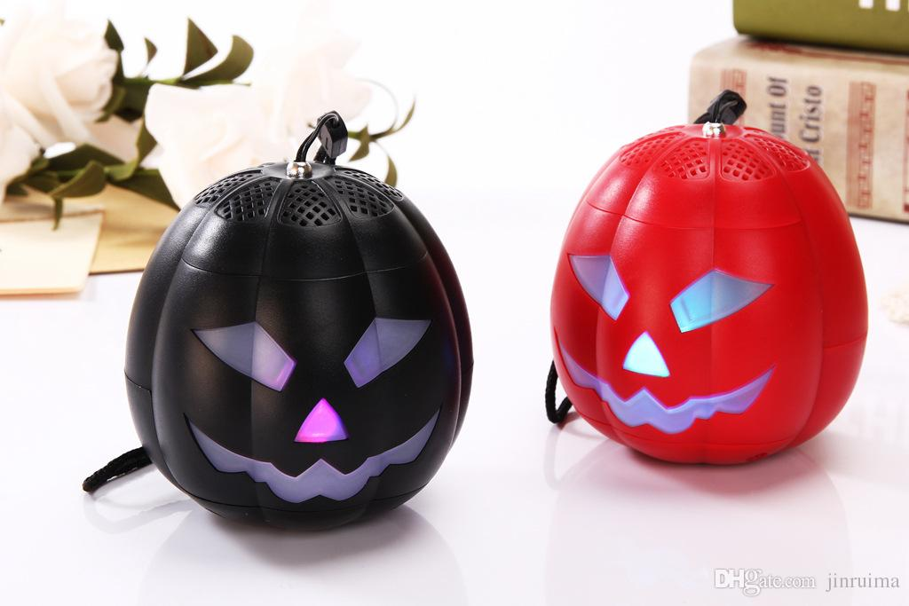 --WSA-8614 Halloween Funny Pumpkin Light Mini Bluetooth Speaker Round Outdoor Speaker Speaker