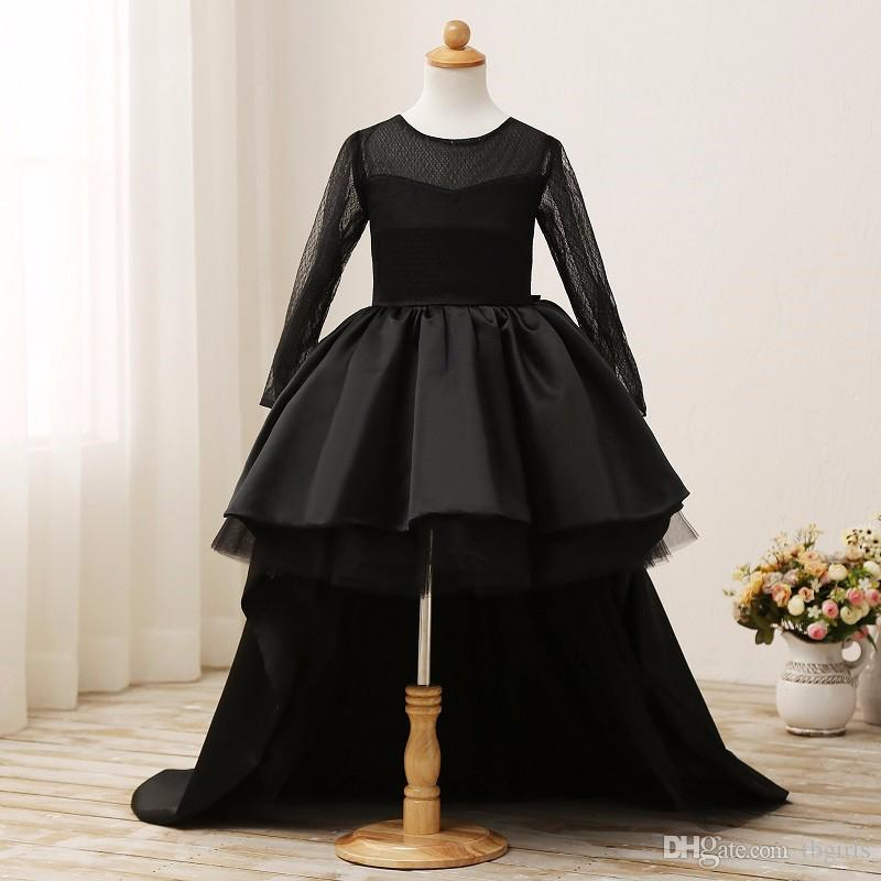 2017 Black Flower Girl Dresses High Low Jewel Long Sleeves Kids ...