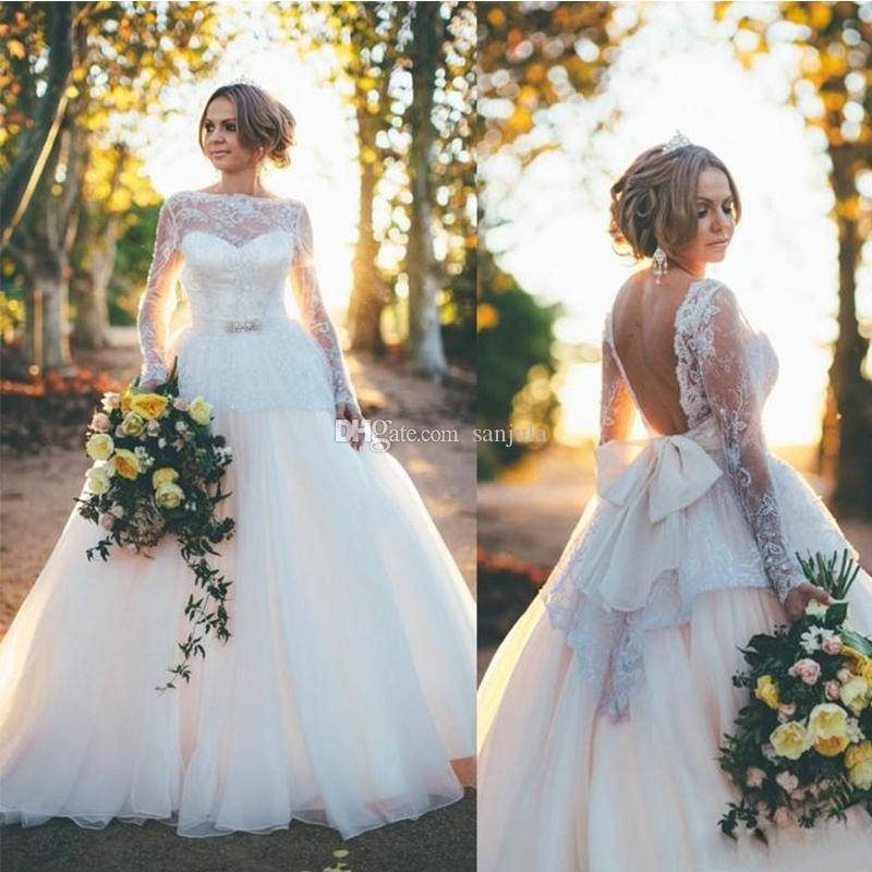 Scoop Backless Country Peplum Wedding Dresses For Bridal Long Sleeve ...