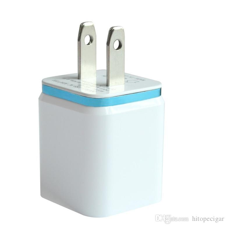 Metal Dual USB parede Carregador de carga EUA UE Plug 2.1A AC Power Adapter Carregador de parede Plug 2 portas para iPhone Samsung Galaxy Nota LG Tablet Ipad
