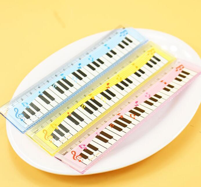 Free Ship Funny Colorful 15cm Cartoon Piano Musical Note Ruler bookmarks School Student Ruler Creative gift lovely ruler for Kids