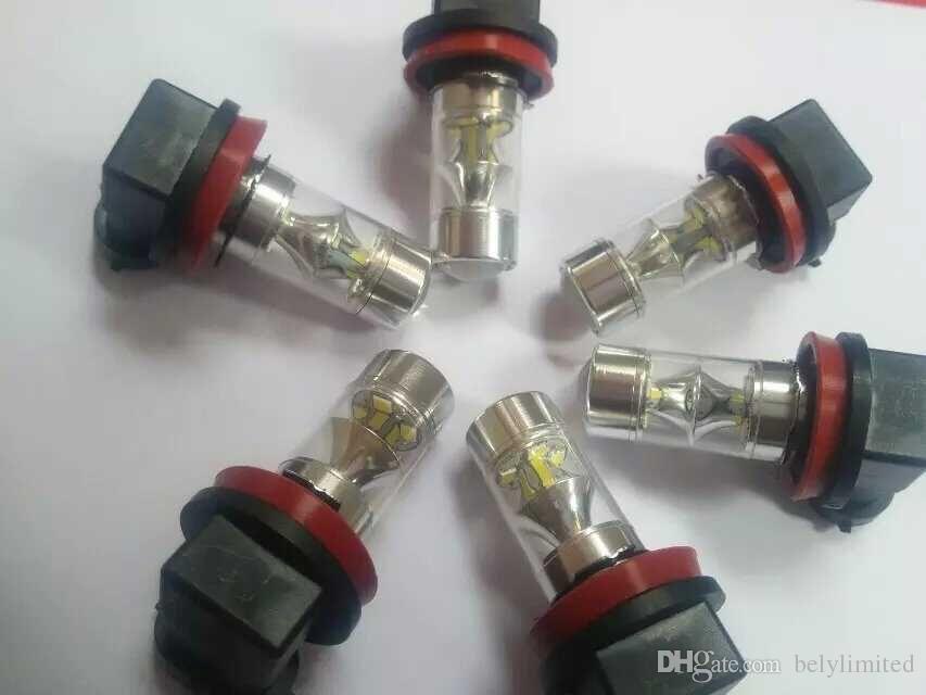 H8 60 W Samsung 2323 SMD Soğuk Beyaz 12 LED fo Araba Oto Sis Sürüş DRL Gündüz Çalışan Ampul 6000 K 12 V-24 V Araba far