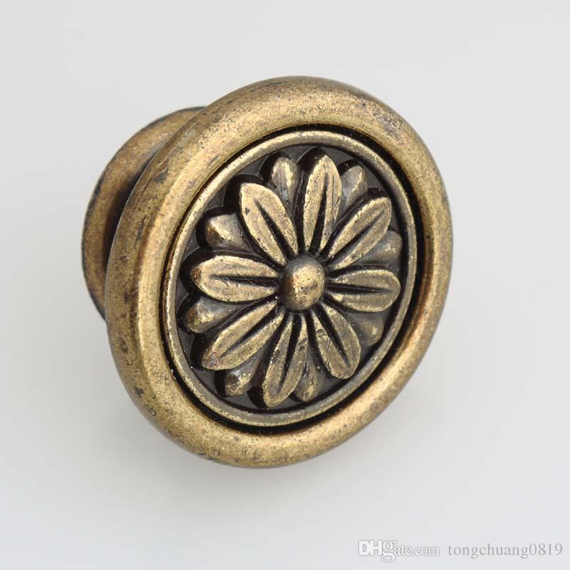 Dia 40mm laiton antique tiroir armoires de cuisine boutons tire poignées de porte commode bronze vintage bouton rustico rétro meubles boutons